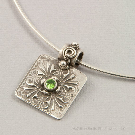 PMC pendant fine silver green stone oxidized jewelry handmade eco friendly