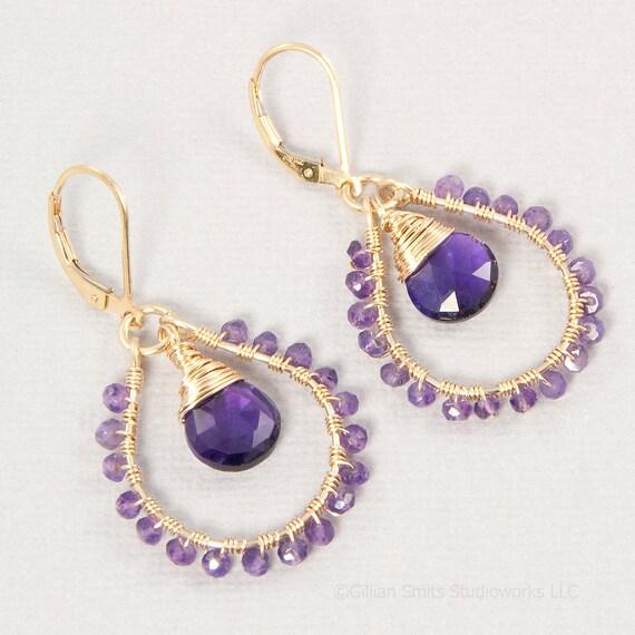 Gold amethyst earrings 14kt gold filled wire wrapped hoops purple stone briolette earrings February birthstone jewelry
