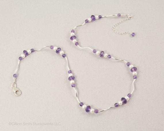 Sterling silver amethyst pearl necklace, necklace and earring set, amethyst with pearls, beaded necklace, sale