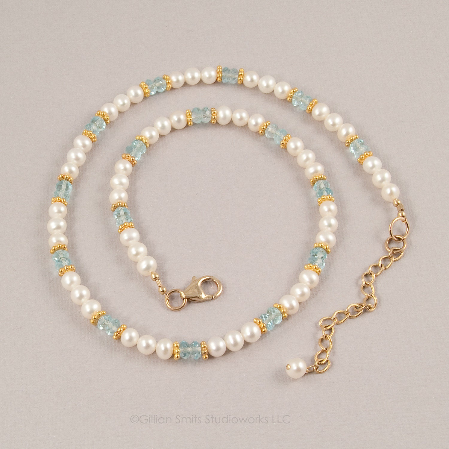 Blue Topaz And Pearl Necklace In 14kt Gold Filled Pearl