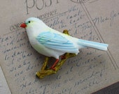 Bird Barrette Blue White Handpainted Plastic  / SALE / Free Shipping to the US