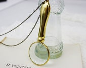 Magnifying Glass Necklace Brass Gold LAST ONE