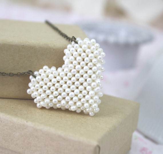 Heart Necklace Freshwater Pearls Beaded 50% OFF SALE