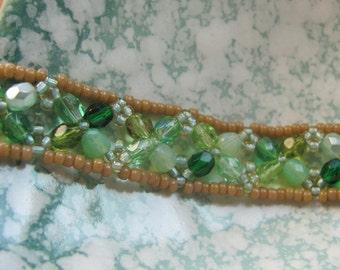 Mint Hand-woven Bracelet Czech Glass Beads