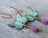 MARIPOSAS -  Patina Brass Butterfly Earrings in Copper