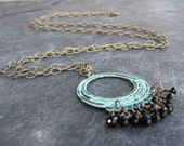 Darcy - Black Beaded Patina in Brass - Long Necklace