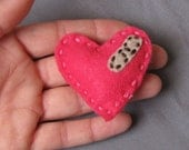 Laurel  - Hot Pink Puffy Heart Felt Brooch with Band aid