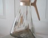 Vintage Triangular Glass Carafe Coffee Pot Mid Century