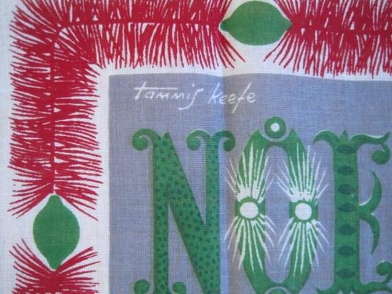 Vintage TAMMIS KEEFE Hankie Christmas