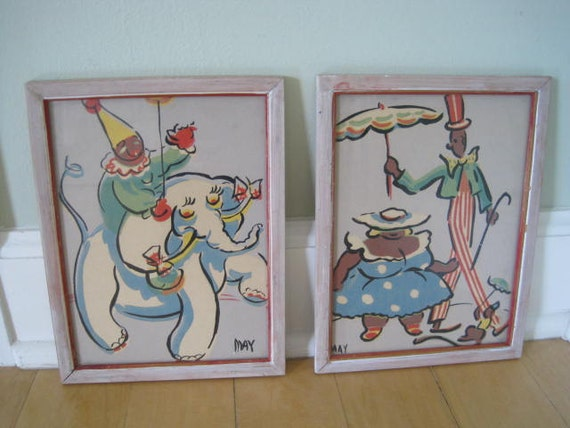 SALE Vintage Circus Pictures Framed