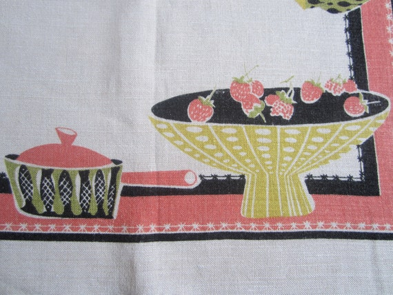 Vintage ATOMIC Tablecloth MAD MEN Dinnerware
