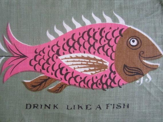 Vintage Mid Century Cocktail Napkin Fish FREE US SHIPPING