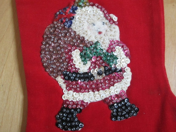 SALE Vintage Christmas Stocking Sequins