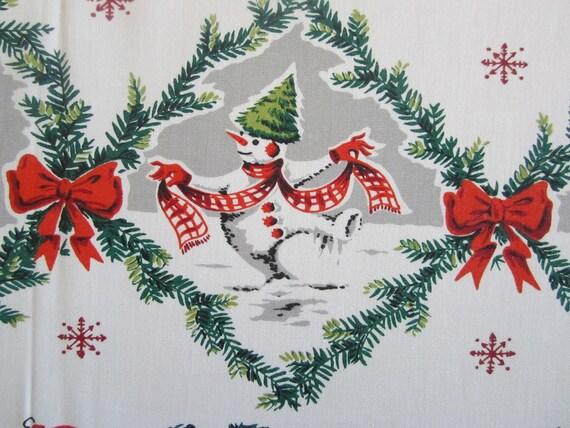 Vintage Tablecloth Christmas Snowmen
