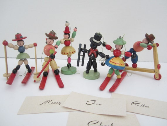 Vintage DOLL Wooden Ornament Place Card Holders