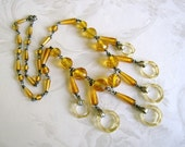 Beautiful Vintage Art Deco Czech Yellow Necklace