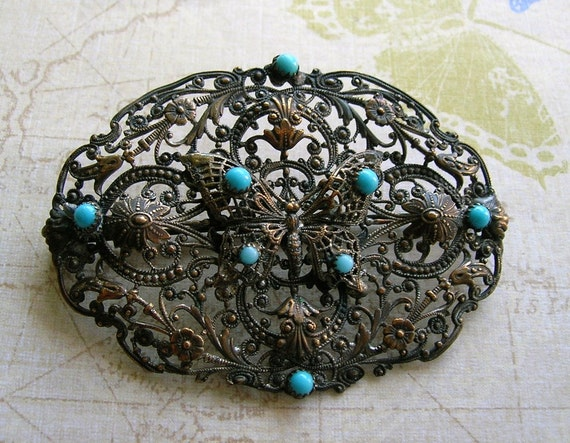 Antique Victorian Sash Pin With Butterfly and Turquoise Stones