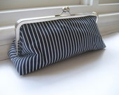 Navy and White Stripes - Clutch (Large)