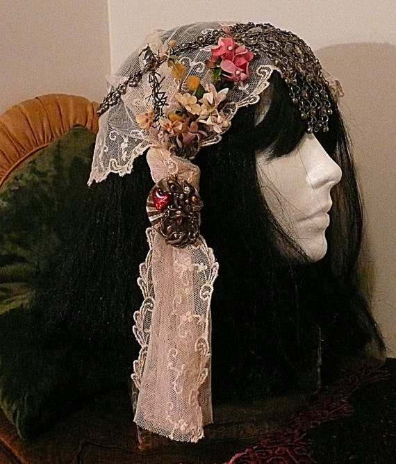 Gypsy Headdress. Vintage flowers. Antique scarf