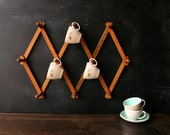 Cup Hooks Accordion Wood Hanger 70s 945 Vintage From NowVintage on Etsy