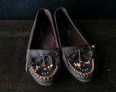 Moccasin Shoes Brown Leather Size 7 M Beadwork From Nowvintage on Etsy