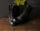 Please Reserve Boots Black Leather Unisex Womens 6 Camp Work Hike Hard Toe Vintage from Nowvintage
