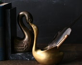 Brass Swan or Bird Vase Vintage from Nowvintage on Etsy