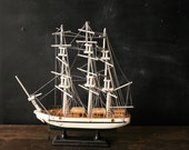 Sailboat Ship Model White 13 inches 3 Masts Vintage from Nowvintage on Etsy