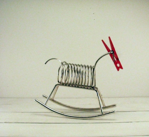 Vintage Wire Rocking Horse File Stand