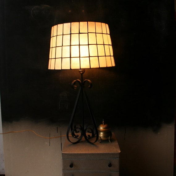 Vintage Wrought Iron Lamp Base With Shell and Steel Shade From NowVintage on Etsy