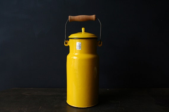Enamelware Milk Pail Bright Yellow With Wooden Handle Tall Vintage from Nowvintage on Etsy