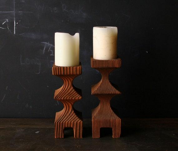 2 Candle Holders Wood Sculpted Hand Carved Modern Design Vintage from Nowvintage on Etsy
