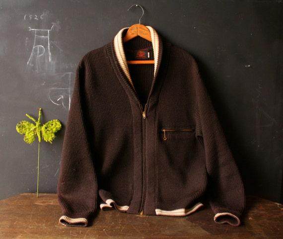 Vintage Cardigan Sweater Kandel Wool Mens Medium Brown 60s Vintage from Nowvintage on Etsy