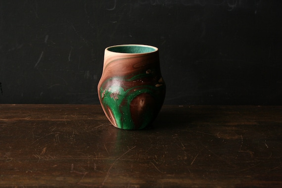 Tribal Vintage Nemadji Native American Pottery Multicolored Brown Green and Cream and Turquoise  Vintage from Nowvintage on Etsy