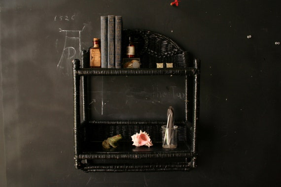 Shelves Curio Cabinate Black Wicker Vintage from NowVintage on Etsy