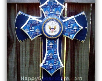 Wall Cross - Wood Cross - Military - Medium - United States NAVY (can be made in any branch)