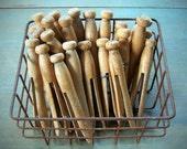 One Dozen Antique Wood Clothespins