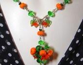 Autumn Crystal Garden Pumpkin Art Pendant Necklace Set - Coco Scapin Designs Chicago