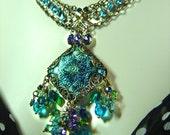 Cerulean Princess - Renaissance Royalty Blue Glass Jewels Art Statement Necklace - Coco Scapin Designs Chicago
