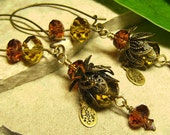 Golden Faerie - Layered Floral Filigree & Crystal Dangle Long Art Glass Earrings - Coco Scapin Designs Chicago
