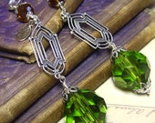 Olivine Art Deco Antiqued Silver & Crystal Art Glass Earrings - Coco Scapin Designs Chicago