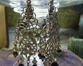 Long Champagne Topaz Crystal And Brass Filigree Art Earrings - Coco Scapin Designs Chicago
