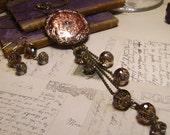 Victorian-esque Champagne Copper Glass Medallion Long Pendant Necklace Set - Coco Scapin Designs