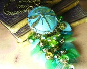 Hanging Gardens - Shimmery Dragonfly & Crystals Glass Charm Necklace - Coco Scapin Designs Chicago