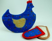 Chicken Pot Holder Pattern with Handle Holder PDF Sewing Tutorial 2 in 1