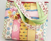 Jelly Roll Tote Bag Sewing Pattern with Fabric Flower Brooch PDF Tutorial