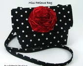 Miss Patience Bag PDF Sewing Pattern with Frilly Fabric Flower Brooch PDF Tutorial