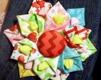 Folded Fabric Flower PDF Tutorial 1 ... no machine sewing