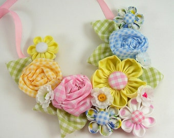 Fabric Flower Bib Necklace 2 PDF Tutorial ... NEW ... Includes 3 flower tutorials