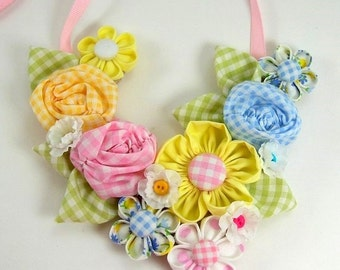 Fabric Flower Bib Necklace Tutorial PDF version no. 2 .... with 3 fabric flower tutorials